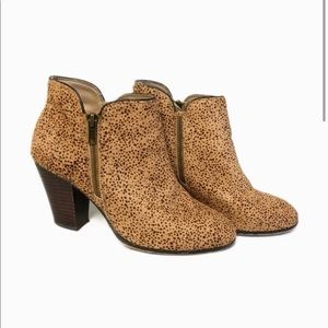 Sole Society Leather Cheetah Heeled Booties